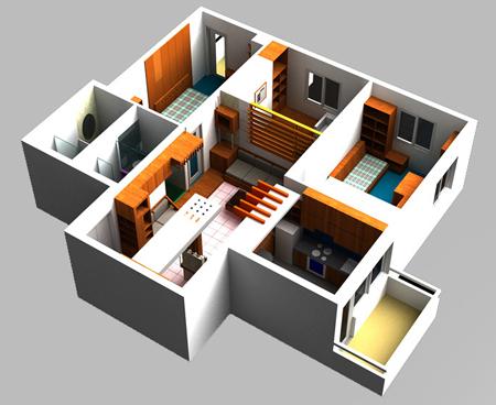 Sơ đồ thiết kế nội thất chung cư.